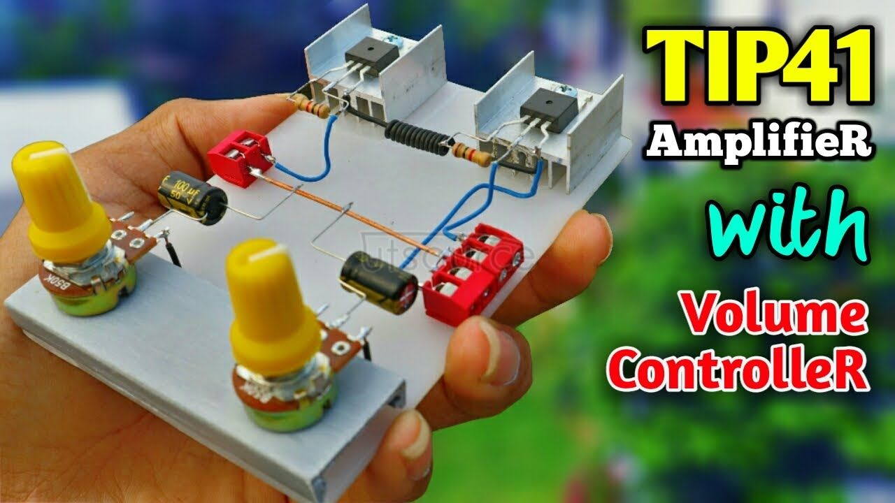 DIY Stereo Amplifier Using TIP41 Transistor With Volume Controller