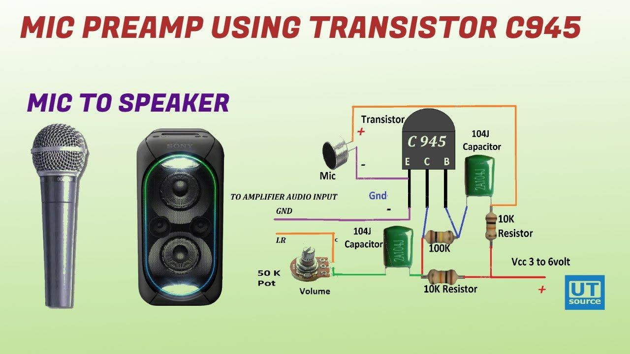 Mic Preamp circuit using C945 Transistor | Mic to Speaker | Clear sound