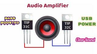 powerful audio amplifier tip31C and tip32C | clear sound |usb powered