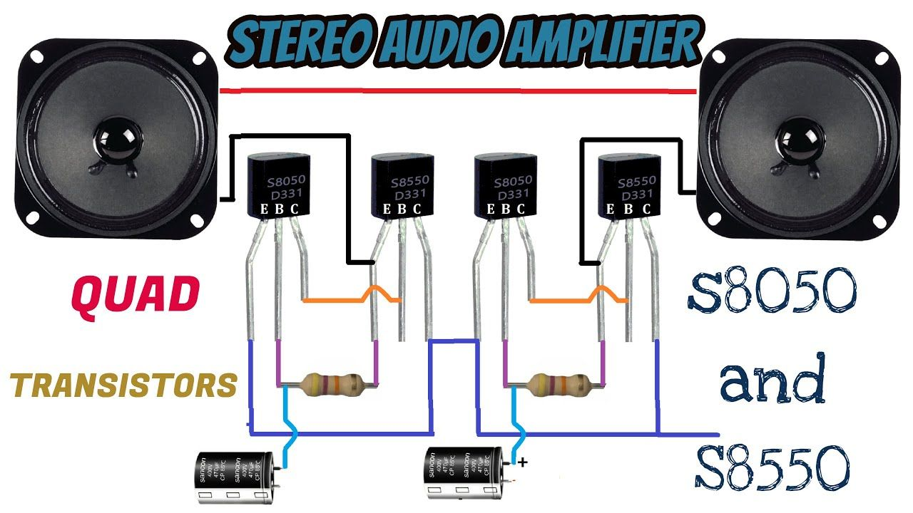 Transistors Stereo Amplifier S8050 and S8550 | USb Powered