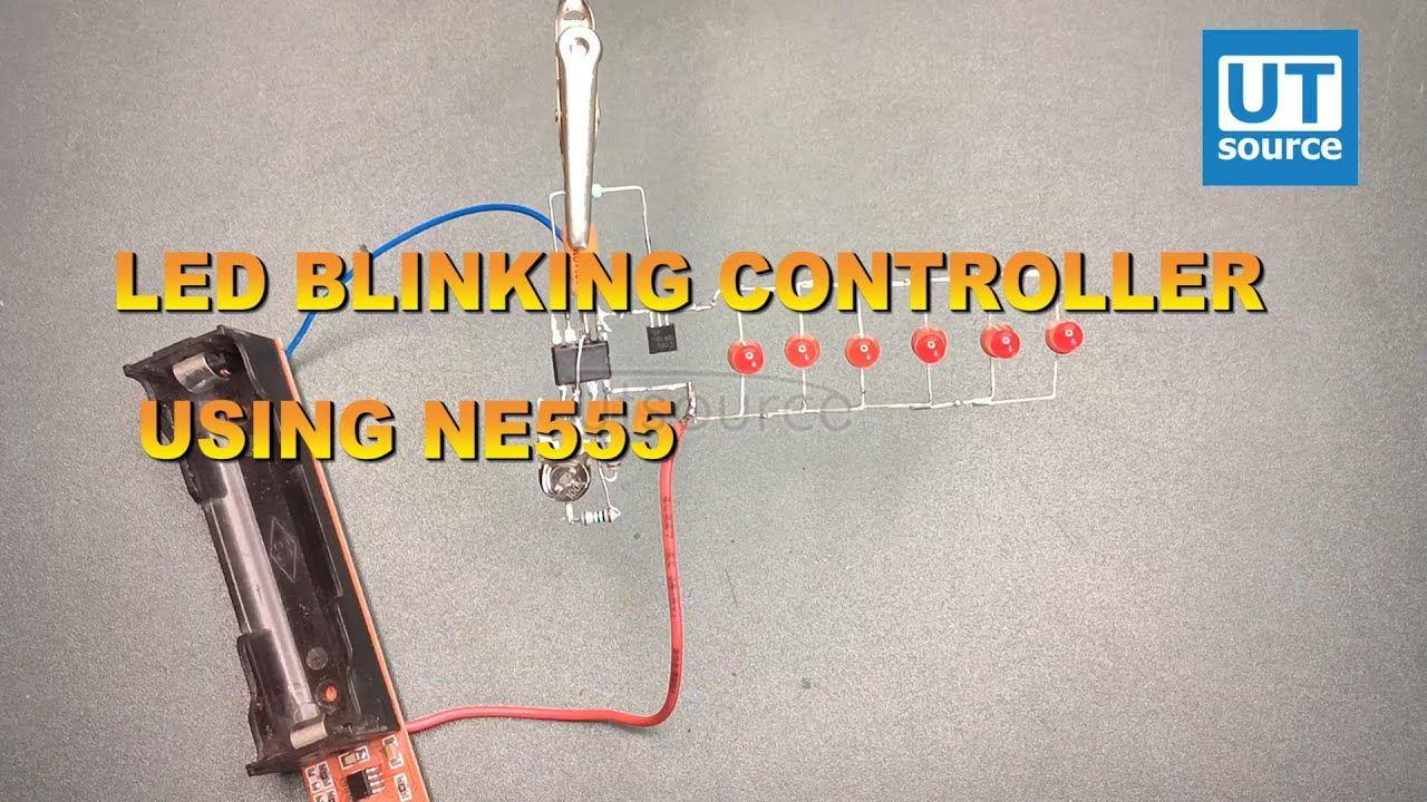 LED BLINKING CONTROLLER USING NE555 IC