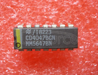 CD4047BCN Low Power Monostable/Astable Multivibrator<br/> Package: DIP<br/> No of Pins: 14<br/> Container: Rail