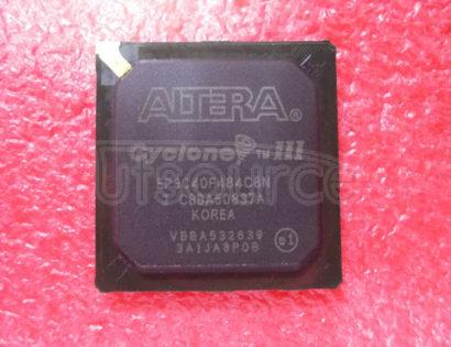 EP3C40F484C8N FPGA, CYCLONE III, 40K LE, FBGA484; Logic IC family:FPGA; Logic IC Base Number:3; Logic IC function:EP3C40; Voltage, supply:1.20V; Case style:FBGA; I/O lines, No. of:331; IC Generic number:3C40F484; Logic function number:3C40F484; RoHS Compliant: Yes