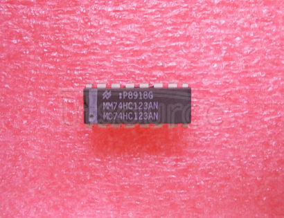 MM74HC123AN Dual Retriggerable Monostable Multivibrator<br/> Package: DIP<br/> No of Pins: 16<br/> Container: Rail