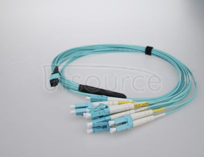 15m (49ft) MTP Female to 4 LC UPC Duplex 8 Fibers OM3 50/125 Multimode Breakout Cable, Type B, Elite, LSZH, Aqua