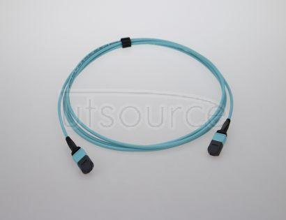 2m (7ft) MTP Female to Female 12 Fibers OM3 50/125 Multimode Trunk Cable, Type B, Elite, Plenum (OFNP), Aqua