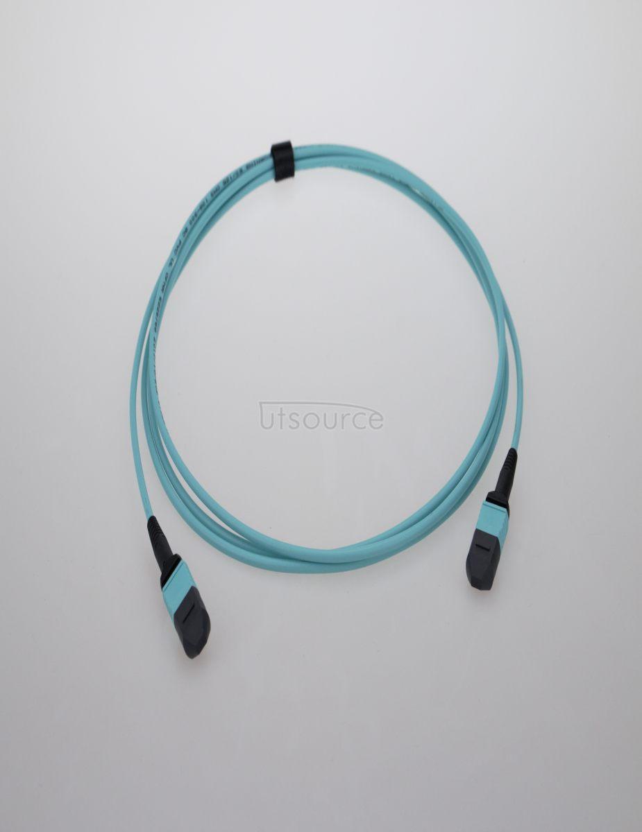 10m (33ft) MPO Female to Female 12 Fibers OM3 50/125 Multimode Trunk Cable, Type B, Elite, LSZH, Aqua