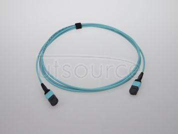 2m (7ft) MTP Female to MTP Female 12 Fibers OM3 50/125 Multimode Trunk Cable, Type B, Elite, LSZH, Aqua
