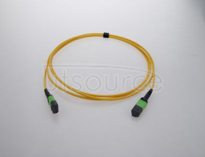 10m (33ft) MTP Female to MTP Female 12 Fibers OS2 9/125 Single Mode Trunk Cable, Type A, Elite, LSZH, Yellow Key up to key down, 0.35dB IL, 3.0mm cable jacket, designed for high-density area.
