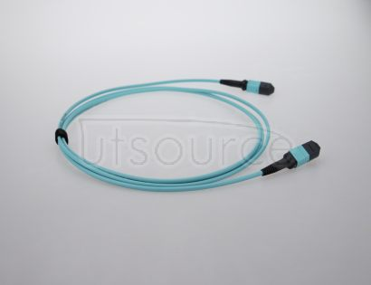 10m (33ft) MTP Female to Female 12 Fibers OM3 50/125 Multimode Trunk Cable, Type A, Elite, Plenum (OFNP), Aqua