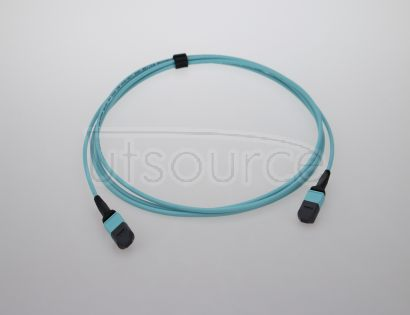 10m (33ft) MTP Female to MTP Female 12 Fibers OM3 50/125 Multimode Trunk Cable, Type A, Elite, LSZH, Aqua Key up to key down, 0.35dB IL, 3.0mm cable jacket, designed for high-density area.
