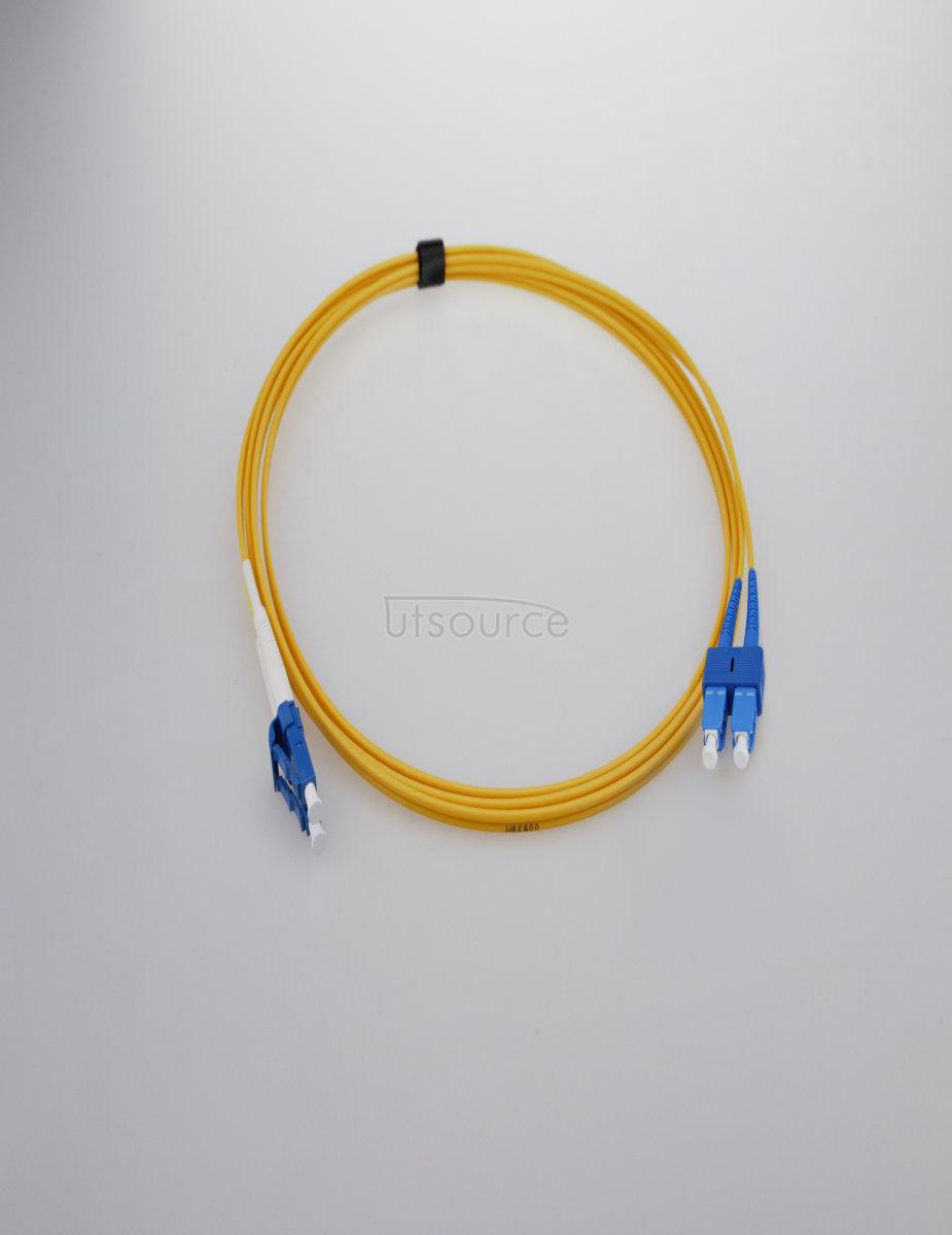 15m (49ft) LC UPC to SC UPC Simplex 2.0mm PVC(OFNR) 9/125 Single Mode Fiber Patch Cable