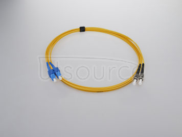 15m (49ft) SC UPC to ST UPC Duplex 2.0mm PVC(OFNR) 9/125 Single Mode Fiber Patch Cable