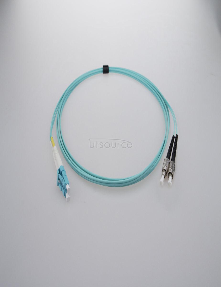 3m (10ft) LC UPC to FC UPC Duplex 2.0mm PVC(OFNR) OM4 Multimode Fiber Optic Patch Cable