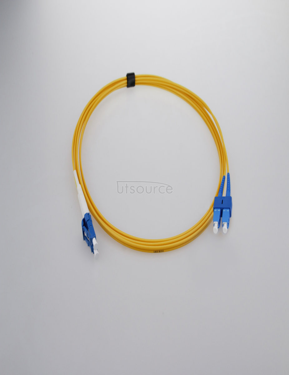 15m (49ft) LC APC to SC APC Duplex 2.0mm PVC(OFNR) 9/125 Single Mode Fiber Patch Cable