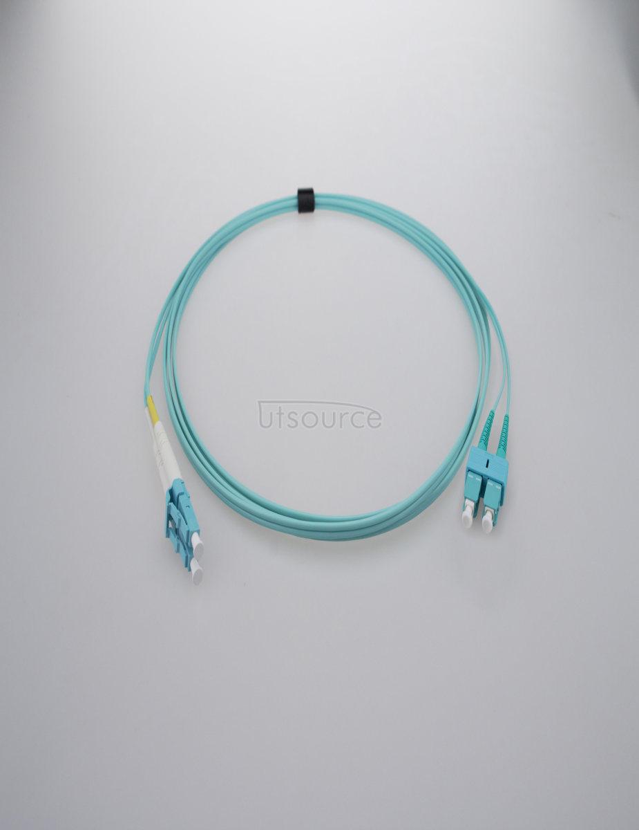 15m (49ft) LC UPC to SC UPC Duplex 2.0mm OFNP OM3 Multimode Fiber Optic Patch Cable