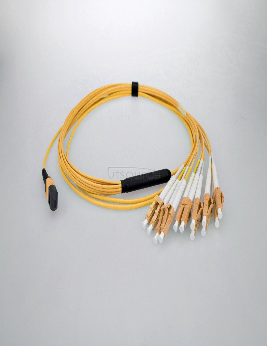 2m (7ft) MTP Female to 4 LC UPC Duplex 8 Fibers OS2 9/125 Single Mode Breakout Cable, Type B, Elite, Plenum (OFNP), Yellow