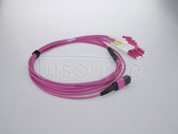 3m (10ft) MTP Female to 6 LC UPC Duplex 12 Fibers OM4 50/125 Multimode HD Breakout Cable, Type A, LSZH, Magenta