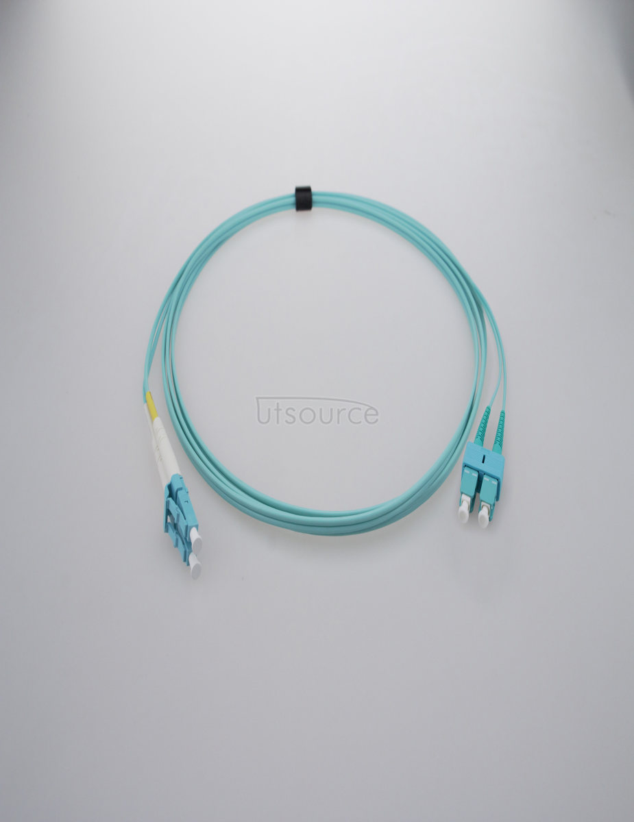 10m (33ft) LC UPC to SC UPC Duplex 2.0mm PVC(OFNR) OM3 Multimode Fiber Optic Patch Cable