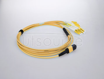 5m (16ft) MTP Female to 4 LC UPC Duplex 8 Fibers OS2 9/125 Single Mode Breakout Cable, Type B, LSZH, Yellow