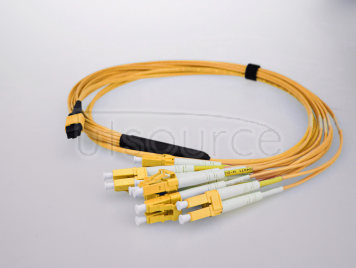 3m (10ft) MPO Female to 4 LC UPC Duplex 8 Fibers OS2 9/125 Single Mode Breakout Cable, Type B, Elite, LSZH, Yellow