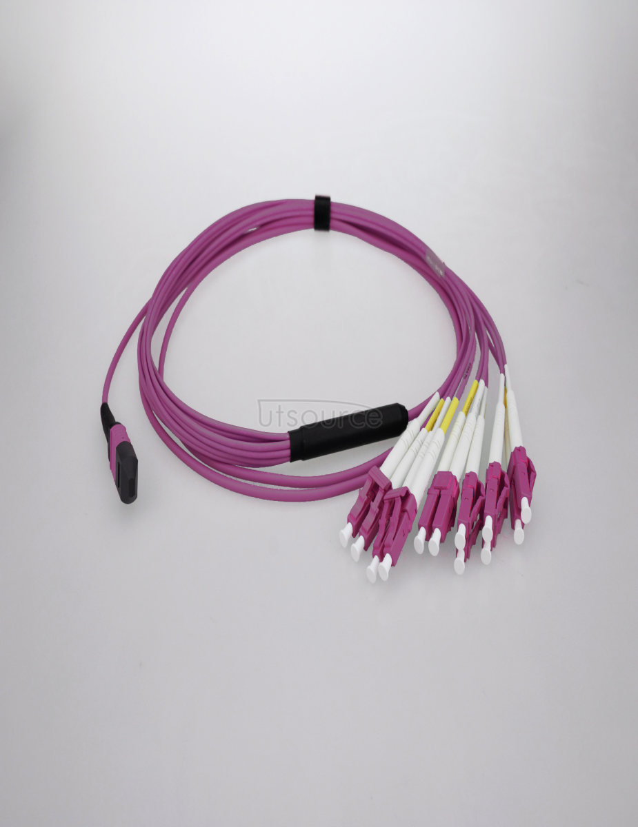 1m (3ft) MTP Female to 6 LC UPC Duplex 12 Fibers OM4 50/125 Multimode Breakout Cable, Type A, Elite, Plenum (OFNP), Magenta