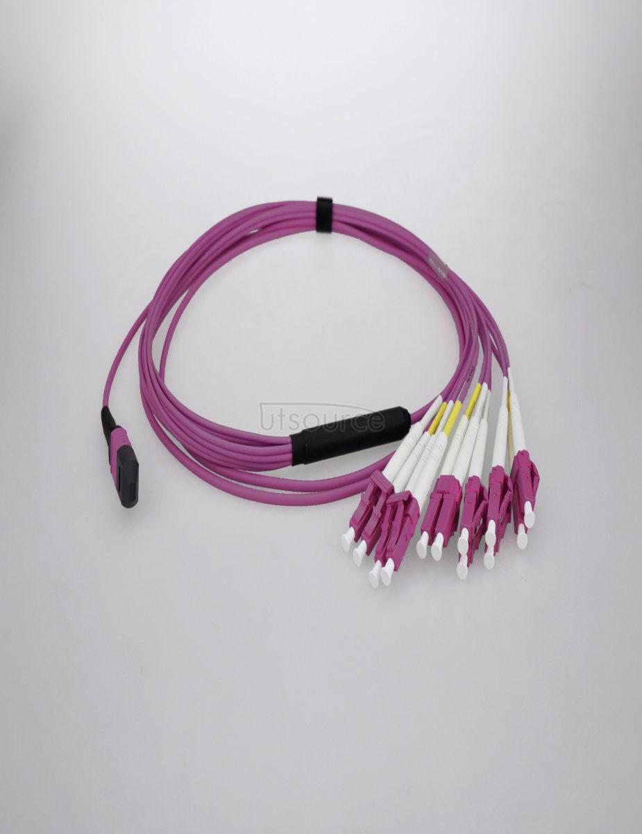 10m (33ft) MTP Female to 4 LC UPC Duplex 8 Fibers OM4 50/125 Multimode Breakout Cable, Type B, Elite, Plenum (OFNP), Magenta
