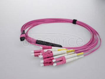 5m (16ft) MTP Female to 6 LC UPC Duplex 12 Fibers OM4 50/125 Multimode Breakout Cable, Type A, Elite, LSZH, Magenta