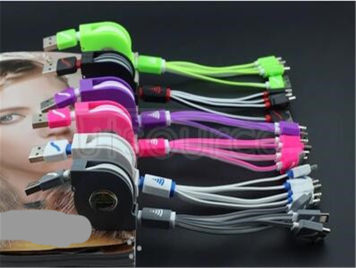 Scalable four one bull multi-function data line Yituo four charger line phone line 4 and 1 blue