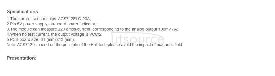 ACS712 Current Sensor Module 20A Range