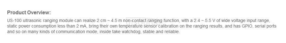 US-100 Temperature Compensation Double Moding Ultrasonic Distance Sensor Module