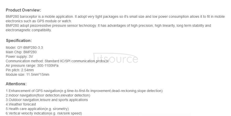 GY-BMP280-3.3 High Precision Atmosphere Pressure Sensor Module
