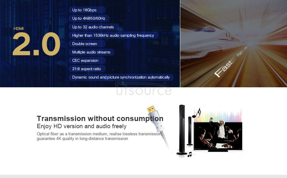 UTOPTICAL  HDMI Fiber Cable 33 feet Light High Speed Support 18.2 Gbps 4K at 60Hz HDMI 2.0 ,  Flexible With Optic Technology 10m