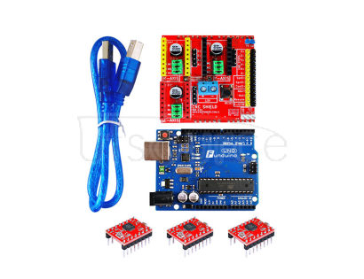 3D kit(3DV2++Funduino-UNO R3+three pieces of 4988+30cm transparent blue USB line)