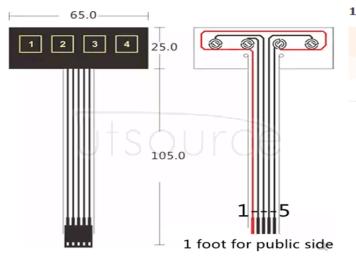 1 row 4 key membrane switch/matrix keyboard/film/control panel/SCM extended keyboard