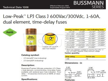 BUSSMANN lpj-3-1/2 sp imported fuses delay fuse fuses from USA