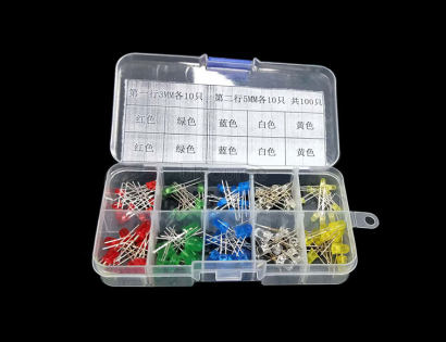 5MM 3MM LED Light Package, Red Green Yellow Blue White, 10 kinds each 10pcs Total 100pcs