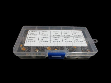 Horizontal Type 100R to 1M Trimmer Potentiometers Package, 10 kinds each 20pcs Total 200pcs