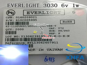 EVERLIGHT LED Backlight High Power LED 1-2W 3030 6V Cool white 130-155LM TV Application 62-123PUNC/F125160VM58SBF-T