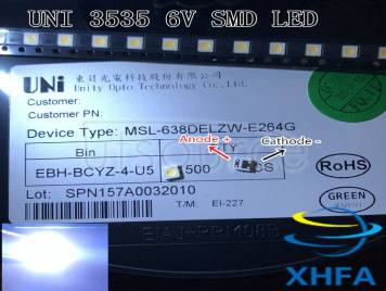 Original UNI LED 3535 3537 Light Beads Cool white High Power 1W 3V 90LM For LED LCD TV Backlight Application