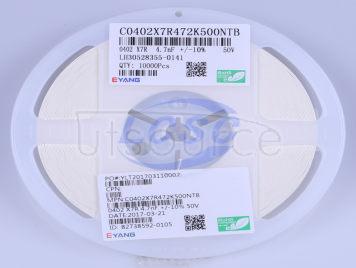 EYANG(Shenzhen Eyang Tech Development) C0402X7R472K500NTB(100pcs)