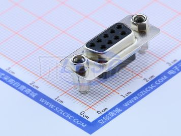 CONNFLY Elec D-SUB,9pin ,,Female180degree,black,pitch2.77mm,Tin plating,With hex screws(Copper screws)