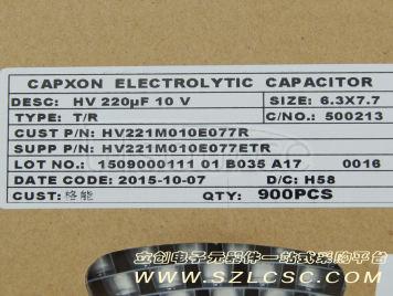 Capxon International Elec HV221M010E077ETR(10pcs)