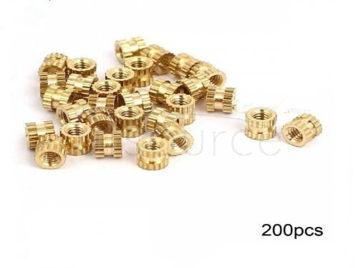 RXDZ M2x3mmx3.5mm Female Threaded Brass Knurled Insert Embedded Nuts - 200PCS