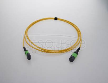 2m (7ft) MTP Female to Female 12 Fibers OS2 9/125 Single Mode Trunk Cable, Type A, Elite, Plenum (OFNP), Yellow Key up to key down, 0.35dB IL, 3.0mm cable jacket, the MTP trunk cable is designed for high-density cabling applications.