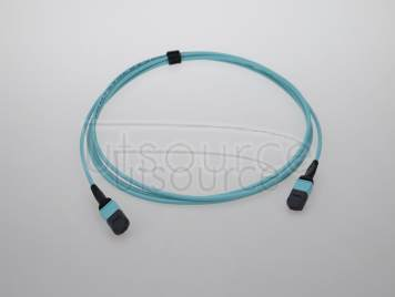 2m (7ft) MTP Female to Female 12 Fibers OM3 50/125 Multimode Trunk Cable, Type B, Elite, Plenum (OFNP), Aqua