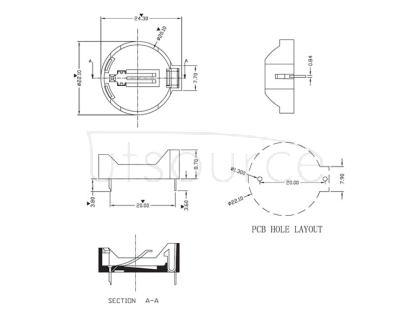 Battery box / battery holder / CR2032 battery, horizontal base, tray,  Q&J,BS-2-1