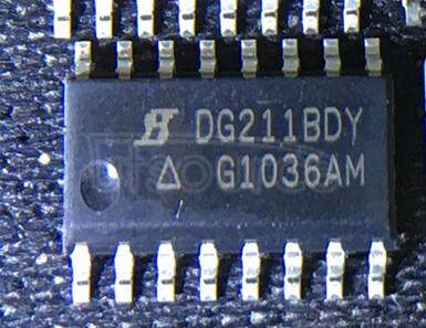 DG211BDY-T1-E3 Analog Switch / Multiplexer Mux IC<br/> On-Resistance, Rdson:45ohm<br/> Analog Switch Function:Analog Switch<br/> Supply Voltage Max:22V<br/> Package/Case:16-SOIC<br/> Leaded Process Compatible:Yes<br/> Peak Reflow Compatible 260 C:Yes RoHS Compliant: Yes