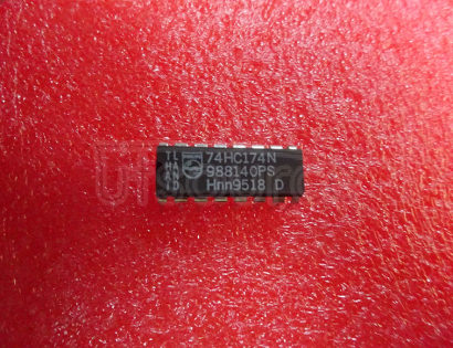 74HC174N Hex D-type flip-flop with reset; positive-edge trigger - Description: Hex D-Type Flip-Flop with Reset; Positive-Edge Trigger ; Fmax: 99 MHz; Logic switching levels: CMOS ; Output drive capability: +/- 5.2 mA ; Power dissipation considerations: Low Power or Battery Applications ; Propagation delay: 17@5V ns; Voltage: 2.0-6.0 V