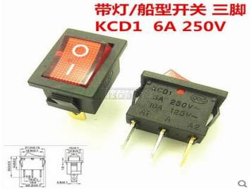 KCD1-102 Rocker Switch With Red Light Three Pins 15*21mm (10pcs)